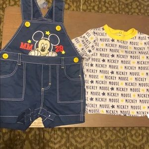 Mickey Mouse overalls with matching shirt